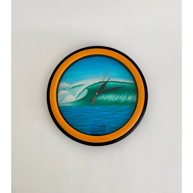 Contemporary Hand-Painted Wall Clock For Sale - Image 3 of 3