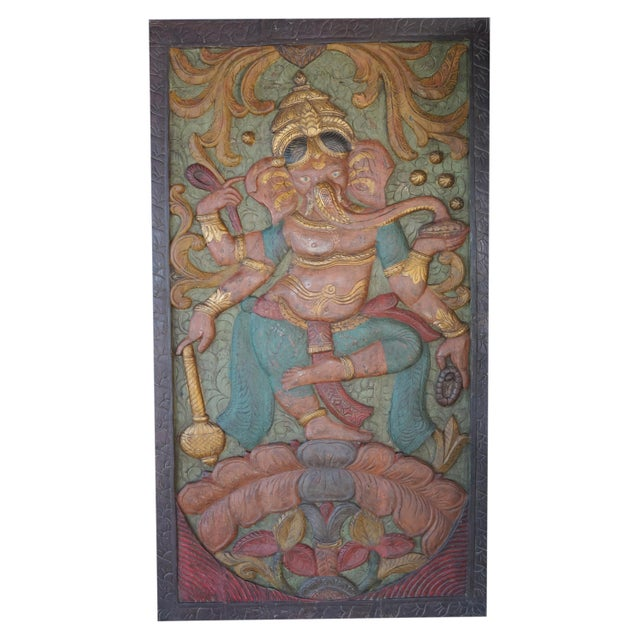 Vintage Colorful Indian Hand Carved Ganesha Dancing on Lotus Door Panel For Sale - Image 4 of 4