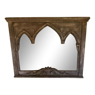 1990s Gothic Arched Wood Mirror For Sale