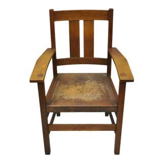 1900s Vintage L & Jg Stickley Oak Mission Arts & Crafts Dining Arm Chair For Sale