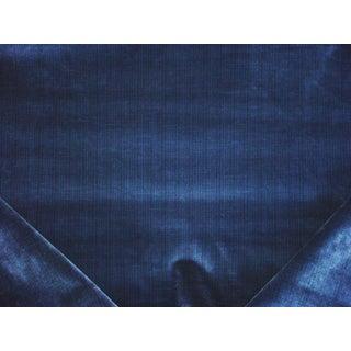 Schumacher Stripe Velvet River Blue Upholstery Fabric - 6 1/2 Yards For Sale