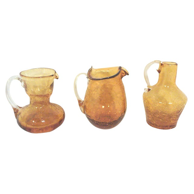 Blenko Mid-Century Gold Crackle Vases - Set of 3 For Sale