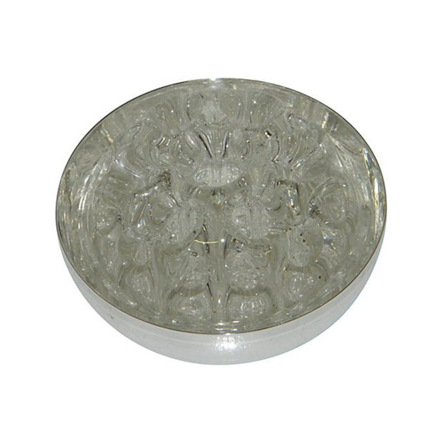 English Traditional Vintage French Christofle Silver Floral Bowl Glass Frog For Sale - Image 3 of 5