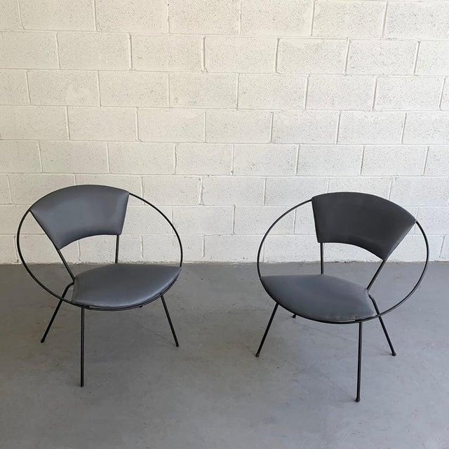 1950s Mid Century Modern Wrought Iron Upholstered Hoop Chairs- A Pair For Sale - Image 5 of 8