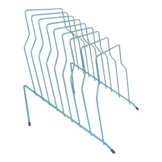 Contemporary Teal Blue Metal Wire Office Desk File Organizer For Sale