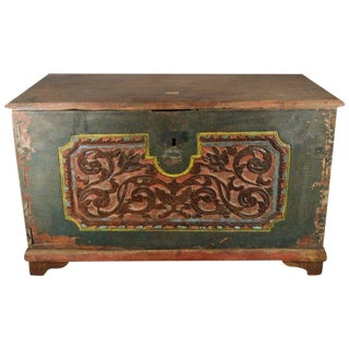 Antique Indonesian Hand-Carved and Painted Trunk with Foliage's, 19th Century