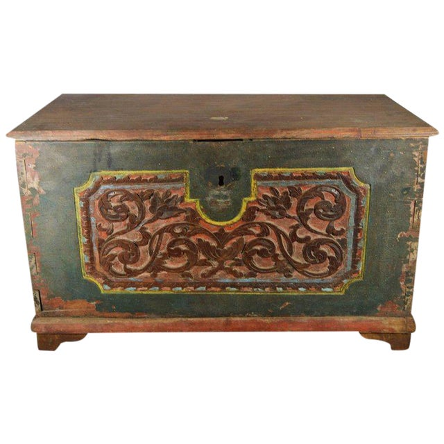 Antique Indonesian Hand-Carved and Painted Trunk with Foliage's, 19th Century For Sale