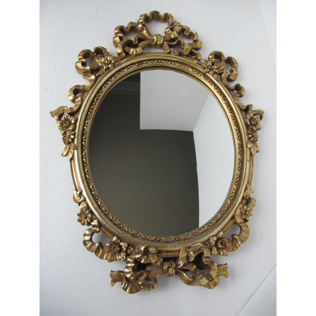 Glass Gold Syroco Wood Ornate Mirror For Sale - Image 7 of 7