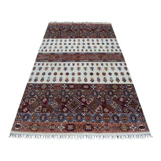 Khorjin Design Ivory Kazak Geometric Hand Knotted Pure Wool Rug For Sale