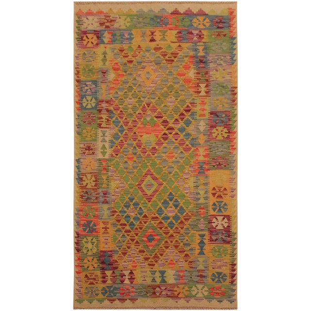 Contemporary Tribal Lesli Beige/Gold Hand-Woven Kilim Wool Rug -3'6 X 6'9 For Sale