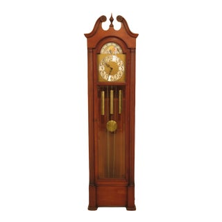 1970s Traditional Colonial Cherry Wood Small Grandfather Hall Clock For Sale