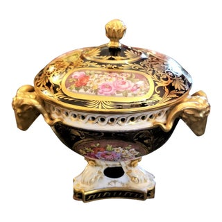 19th Century Derby Porcelain Lidded Centerpiece For Sale