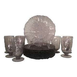 Vintage Morgantown Amethyst Purple Crinkle Glass Plates & Goblets - Set of 14 For Sale