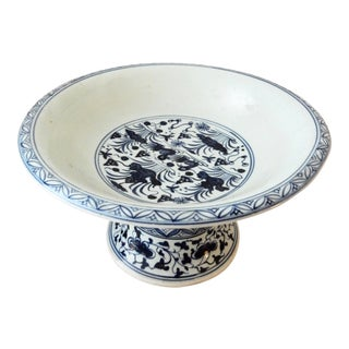 Blue & White Fruit Bowl Pedestal