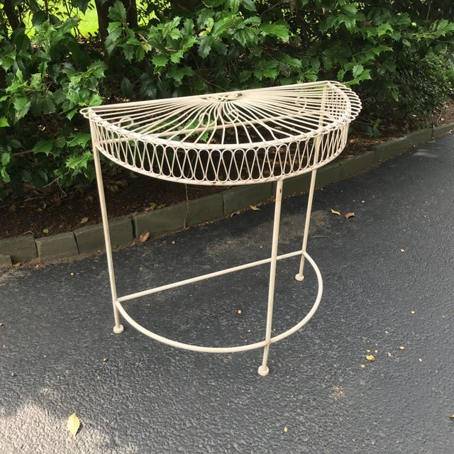 Vintage Wrought Iron Demi Lune Table With Original Paint For Sale In New York - Image 6 of 11