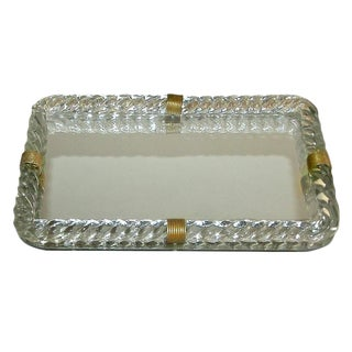 Venini Style Murano Twisted Glass Rope Vanity Tray For Sale