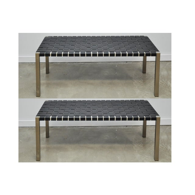 Pair of Steel and Leather Strap Benches For Sale - Image 10 of 10