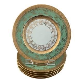 Hutschenreuther Gold Encrusted and Green Royal Bavarian Porcelain Dinner Plates- Set of 6 For Sale