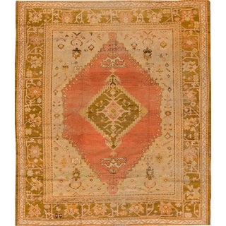 Antique Coral Turkish Oushak Handmade Wool Rug For Sale