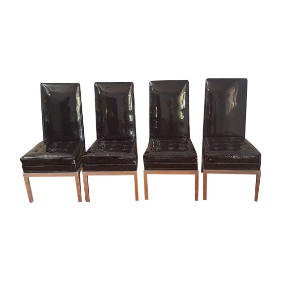 Mid-Century Modern Patent Leather Chairs - S/4 - Image 1 of 6