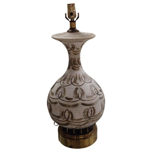 Hanpainted Mid-Century Lamp - Image 1 of 6