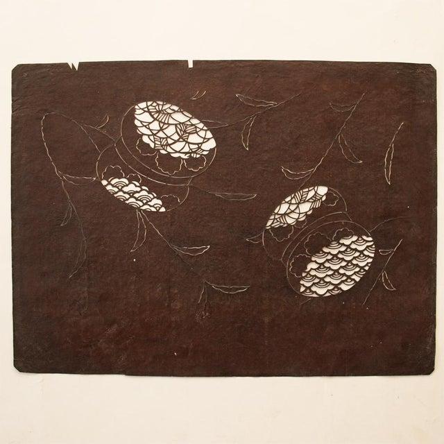 Paper C.1850s Antique Edo Era Japanese Katagami Stencil Art For Sale - Image 7 of 9