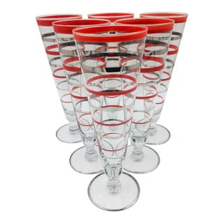 1940s Art Deco Red and Silver Banded Footed Pilsners - Set of 6 For Sale