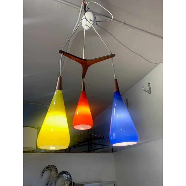 Mid-Century Modern 1960s Prescolite Pendant Hanging Swag Lamp in Red Yellow Blue For Sale - Image 3 of 7