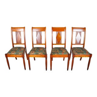 1970s Set of 4 French Vintage Cherry Wood Dining Chairs For Sale