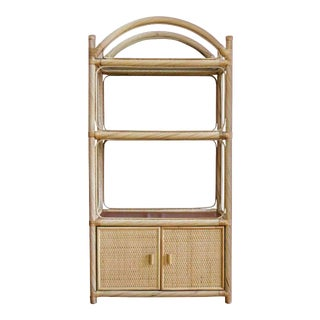 Honey Glazed Ficks Reed Chippendale Style Pencil Rattan Étagère 3 Tiers & Enclosed Cabinet For Sale