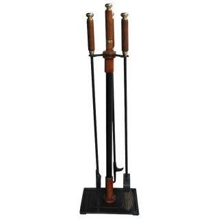 Brass and Wood Midcentury Fireplace Firetools For Sale