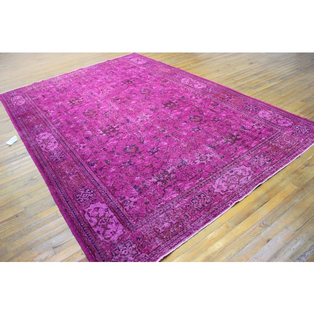Hot Pink Overdyed Hand Woven Rug - 6′10″ × 10′1″ - Image 4 of 7