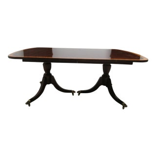 18th Century Chippendale Ethan Allen Mahogany Banded Dining Room Banquet Conference Table For Sale