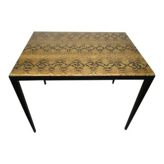 Vintage Garrison Rousseau Signed Python Snake Skin Side Table For Sale
