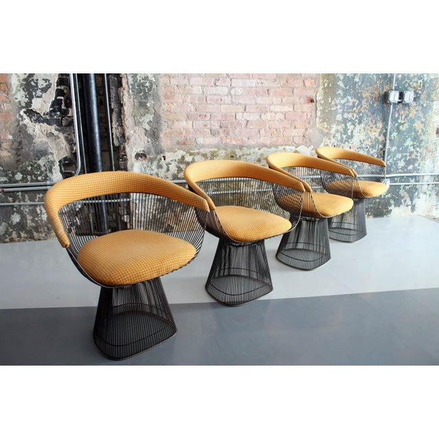 Brown Original Walnut and Bronze Dining Set With 4 Chairs by Warren Platner for Knoll For Sale - Image 8 of 13