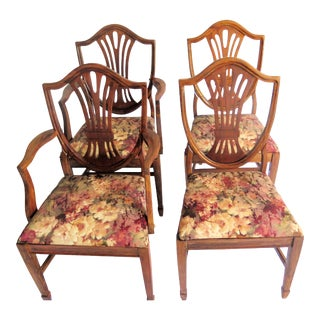 1940s Vintage Duncan Phyfe Shield Back Chairs- Set of 4 For Sale