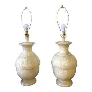 Vintage 1980s Alabaster Lamps - a Pair For Sale