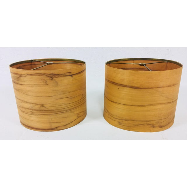 Lights Hand Crafted Teak Lamps With Wood Shades - a Pair For Sale - Image 7 of 11