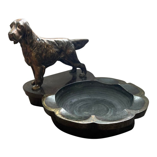 Heavy Cast Metalware Brass Spaniel Dog Ashtray Philadelphia Manufacturing Co. For Sale