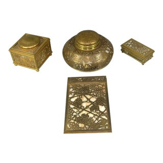 20th Century Art Deco Tiffany Studio Gilt Bronze Desk Items - 4 Pieces For Sale