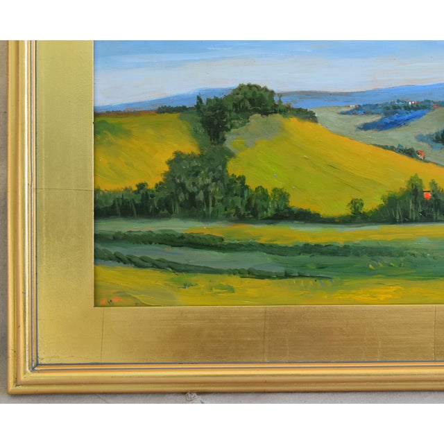Early 21st Century California Golden Foothills Landscape Oil Painting W/ Gold Leaf Frame For Sale - Image 5 of 8