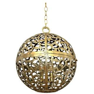 Large Japanese Asian Pierced Filigree Brass Ceiling Pendant Light