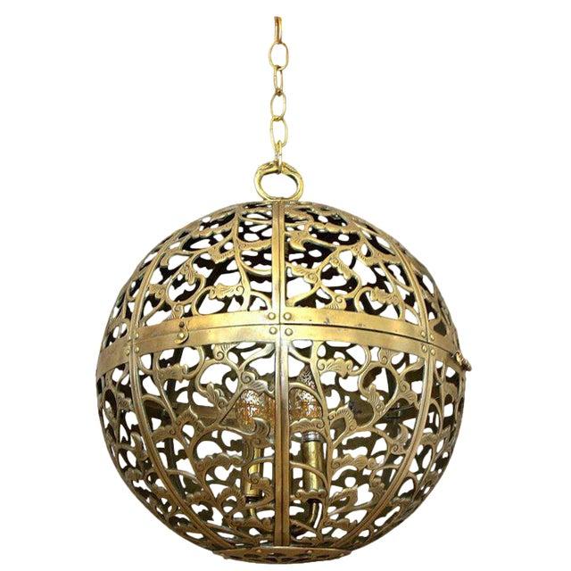 Large Japanese Asian Pierced Filigree Brass Ceiling Pendant Light For Sale