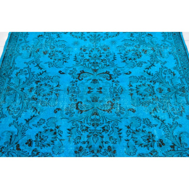 """Textile Cyan Blue Overdyed Turkish Hand Knotted Rug - 6'5"""" X 10' For Sale - Image 7 of 10"""