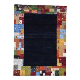 """Folk Art Gabbeh Wool Hand-Knotted Rug - 8'0"""" x 10'9"""" For Sale"""