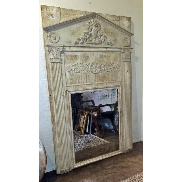 White Large 19c French Neoclassical Revival Trumeau Mirror For Sale - Image 8 of 8