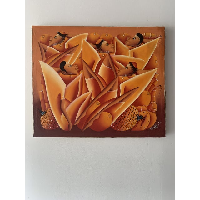 Vintage Haitian oil painting on canvas signed by The Kut In. Incredible vibrant variations of oranges.