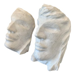Art Deco Male & Female Marble Busts - Set of 2 For Sale