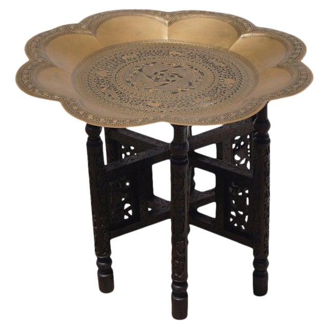 Traditional Styled Moroccan Wood and Brass Side Table For Sale