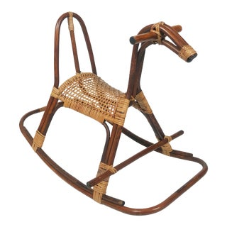 Vintage Rattan Caned Seat Rocking Horse For Sale